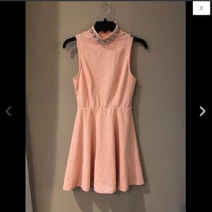 Peach Rhinestone Collar Fit & Flare Circle Dress M